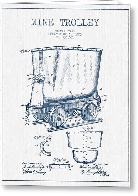 Mine Greeting Cards - Mine Trolley Patent Drawing From 1903- Blue Ink Greeting Card by Aged Pixel