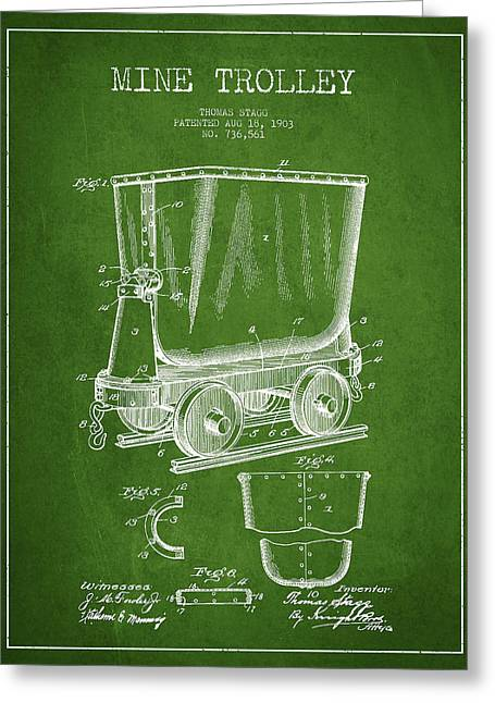 Mine Greeting Cards - Mine Trolley Patent Drawing From 1903 - Green Greeting Card by Aged Pixel