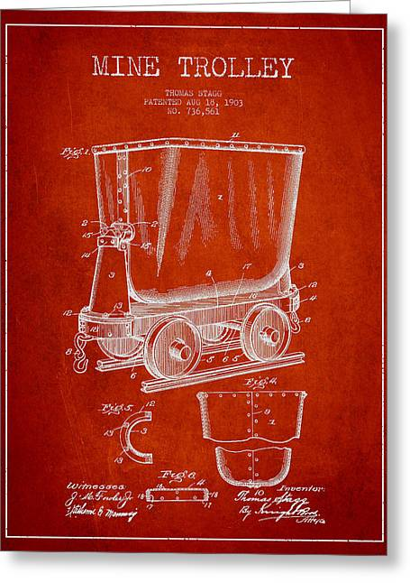 Mine Greeting Cards - Mine Trolley Patent Drawing From 1903 - Red Greeting Card by Aged Pixel
