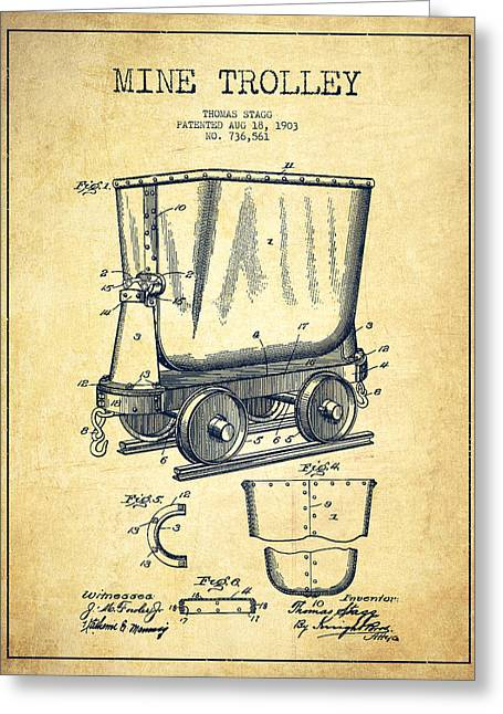 Mine Greeting Cards - Mine Trolley Patent Drawing From 1903 - Vintage Greeting Card by Aged Pixel
