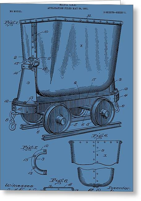 Silver Ore Greeting Cards - Mine Trolley Patent On Blue Greeting Card by Dan Sproul