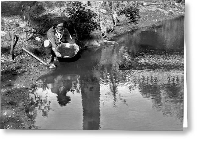 Miner Panning For Gold Greeting Card by Underwood Archives
