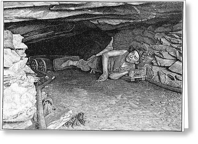 Pneumatic Drill Greeting Cards - Miner with foot-drawn cart, artwork Greeting Card by Science Photo Library