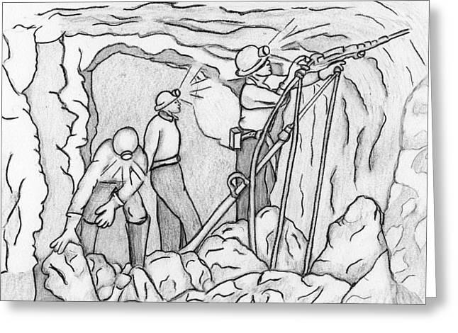 At Work Drawings Greeting Cards - Miners at Work Greeting Card by Amanda Balough
