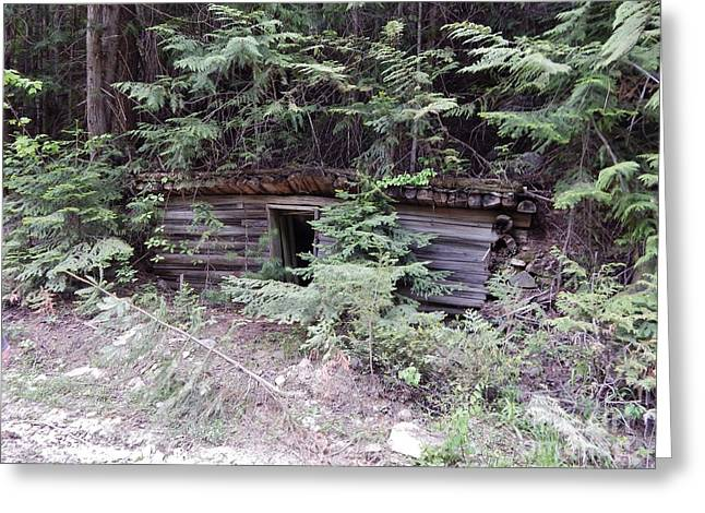 Old Cabins Greeting Cards - Miners Cabin British Columbia Greeting Card by Reb Frost
