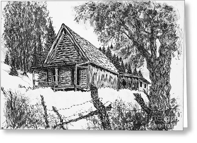 Old Cabins Drawings Greeting Cards - Miners Cabin Greeting Card by Judy Sprague