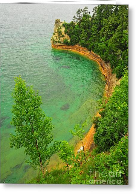 Lakeshore Greeting Cards - Miners Castle at Picture Rocks National Lakeshore Greeting Card by Terri Gostola