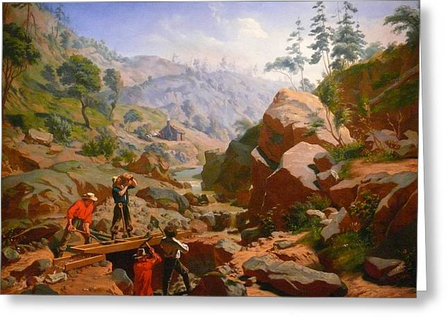 Fortyniner Greeting Cards - Miners In The Sierras Greeting Card by Charles Nahl