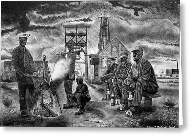 At Work Drawings Greeting Cards - Miners Greeting Card by Kamil Zelezik