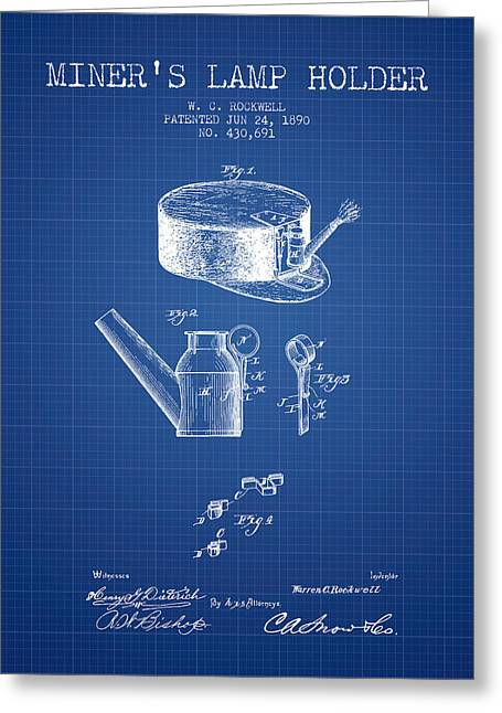 Mining Greeting Cards - Miners Lamp Holder Patent from 1890 - Blueprint Greeting Card by Aged Pixel