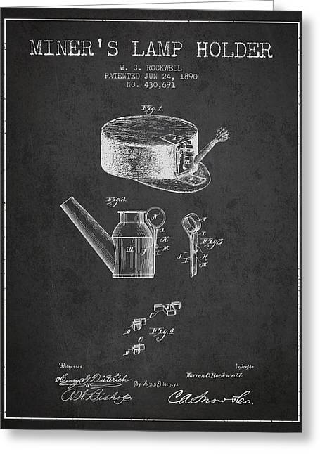 Mining Greeting Cards - Miners Lamp Holder Patent from 1890 - Charcoal Greeting Card by Aged Pixel