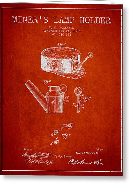 Mining Greeting Cards - Miners Lamp Holder Patent from 1890 - Red Greeting Card by Aged Pixel