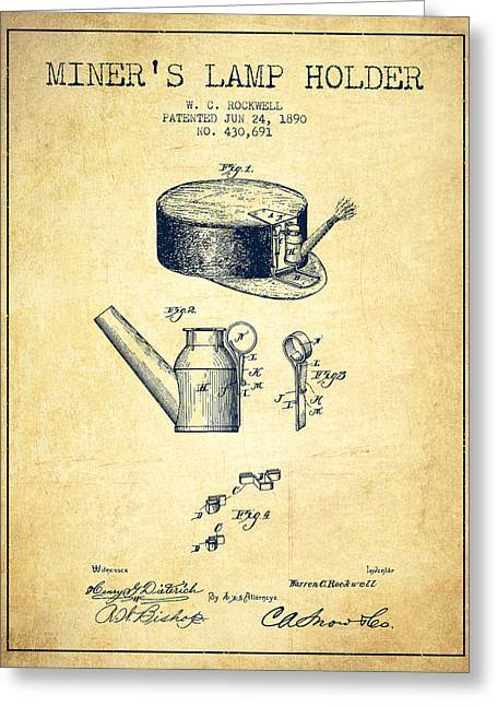 Mining Greeting Cards - Miners Lamp Holder Patent from 1890 - Vintage Greeting Card by Aged Pixel