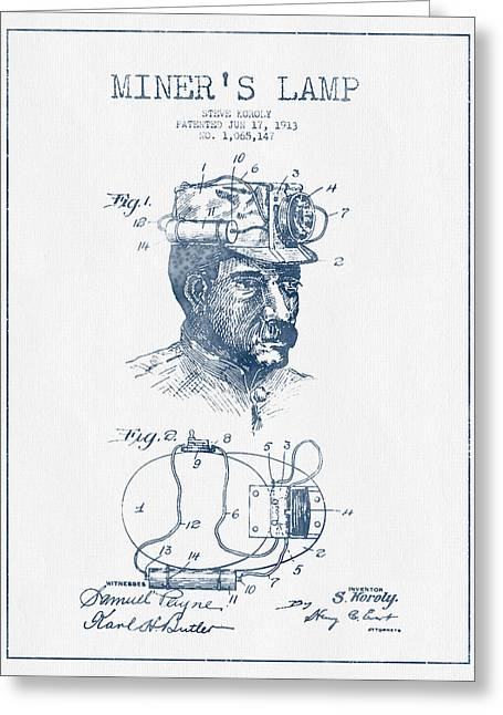 Miner Greeting Cards - Miners Lamp Patent Drawing From 1913- Blue Ink Greeting Card by Aged Pixel