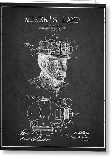 Miners Greeting Cards - Miners Lamp Patent Drawing From 1913 - Dark Greeting Card by Aged Pixel