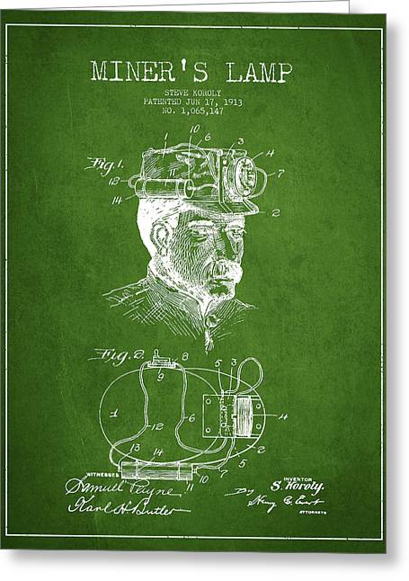 Miners Greeting Cards - Miners Lamp Patent Drawing From 1913 - Green Greeting Card by Aged Pixel