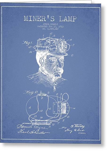 Miners Greeting Cards - Miners Lamp Patent Drawing From 1913 - Light Blue Greeting Card by Aged Pixel