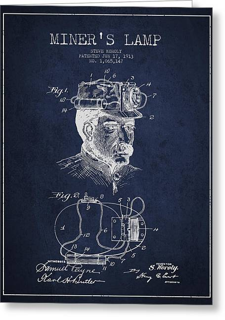 Miner Greeting Cards - Miners Lamp Patent Drawing From 1913 - Navy Blue Greeting Card by Aged Pixel