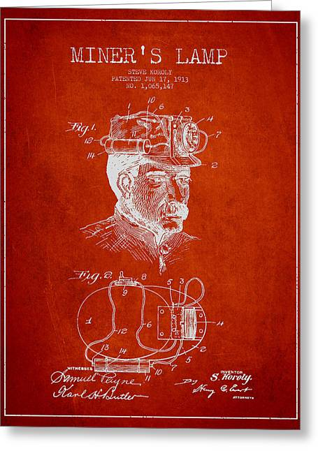 Miners Greeting Cards - Miners Lamp Patent Drawing From 1913 - Red Greeting Card by Aged Pixel