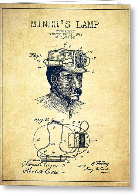 Miner Greeting Cards - Miners Lamp Patent Drawing From 1913 - Vintage Greeting Card by Aged Pixel