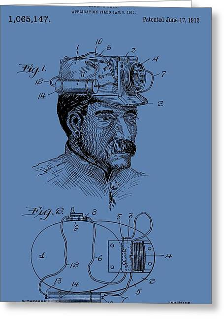 Silver Ore Greeting Cards - Miners Lamp Patent On Blue Greeting Card by Dan Sproul