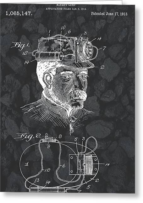Collar Mixed Media Greeting Cards - Miners Lamp Patent On Coal Greeting Card by Dan Sproul
