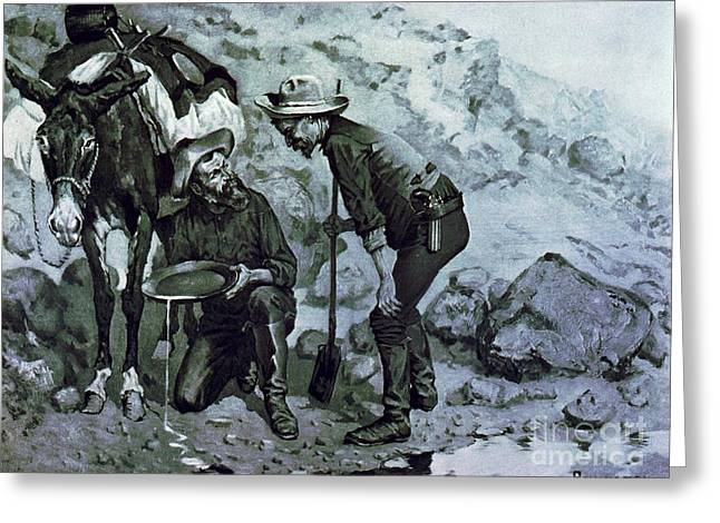 Miners Prospecting Greeting Card by PG REPRODUCTIONS