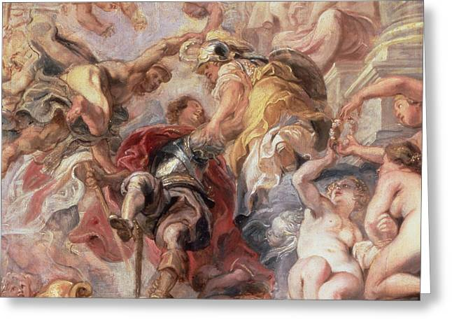 Conducting Greeting Cards - Minerva and Mercury Conduct the Duke of Buckingham Greeting Card by Rubens