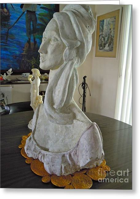 Goddess Sculptures Greeting Cards - Minerva Profile Sculpture Greeting Card by Shirl Solomon