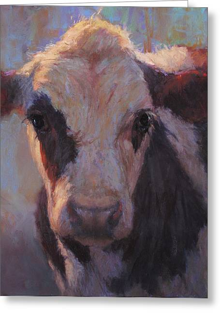 Cattle Pastels Greeting Cards - Minerva Greeting Card by Susan Williamson