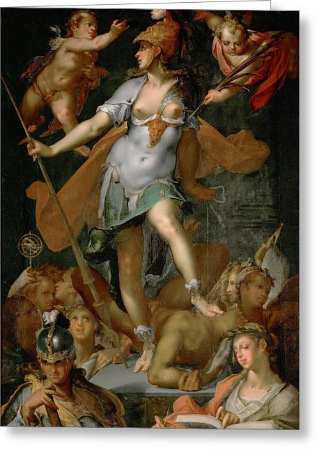 Ignorance Greeting Cards - Minerva Victorious over Ignorance Greeting Card by Bartholomeus Spranger