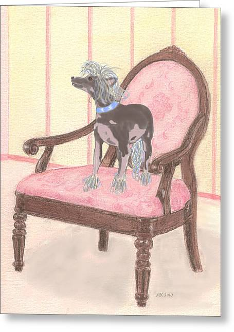 Puppies Mixed Media Greeting Cards - Ming Greeting Card by Stephanie Grant