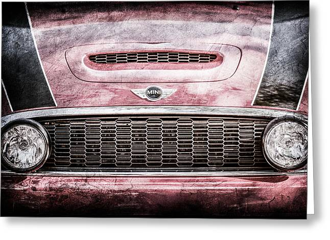 Mini Photographs Greeting Cards - Mini Car Grille Emblem -0558ac Greeting Card by Jill Reger