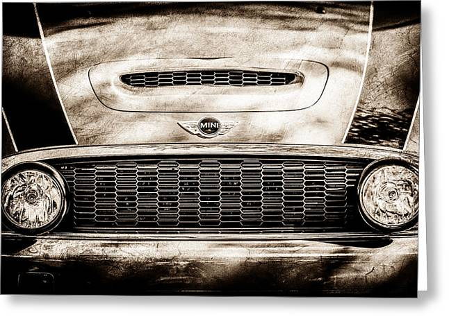 Mini Photographs Greeting Cards - Mini Car Grille Emblem -0558s Greeting Card by Jill Reger