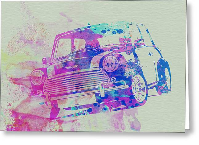 Classic Drawings Greeting Cards - Mini Cooper Greeting Card by Naxart Studio