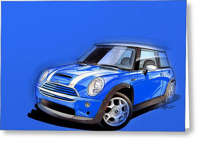 Cute Digital Greeting Cards - Mini Cooper S blue Greeting Card by Etienne Carignan