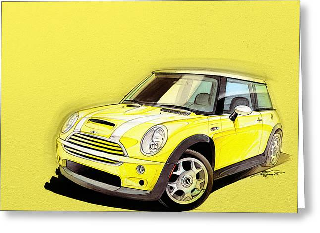Cute Digital Greeting Cards - Mini Cooper S yellow Greeting Card by Etienne Carignan