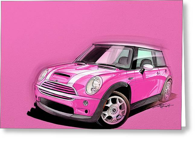 Cute Digital Greeting Cards - Mini Cooper S pink Greeting Card by Etienne Carignan