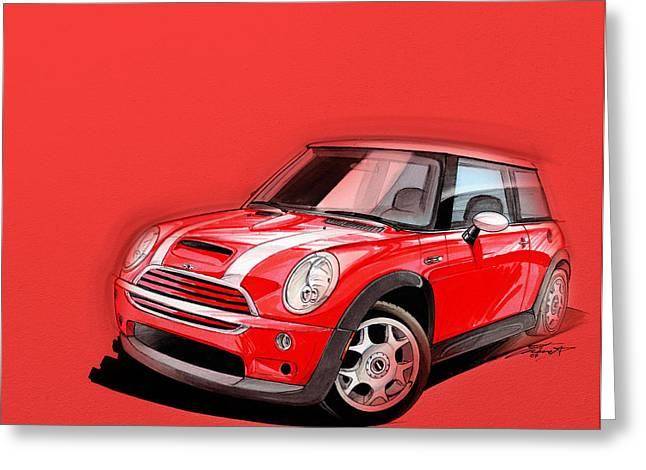 Mini Art Greeting Cards - Mini Cooper S red Greeting Card by Etienne Carignan