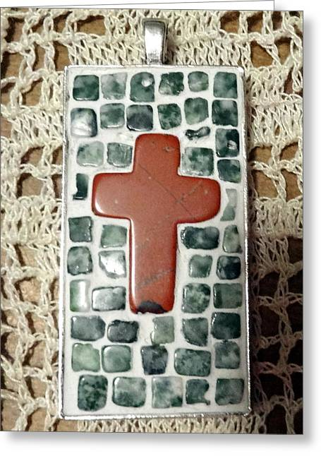 Mini Cross Jewelry Greeting Cards - Mini Cross Mosaic Pendant 11 Greeting Card by Kathleen Luther