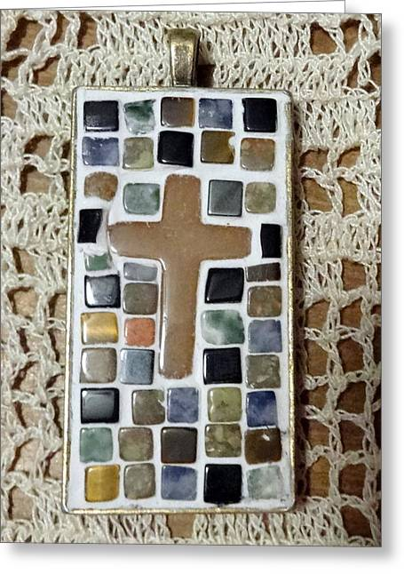Mini Cross Jewelry Greeting Cards - Mini Cross Mosaic Pendant 12 Greeting Card by Kathleen Luther