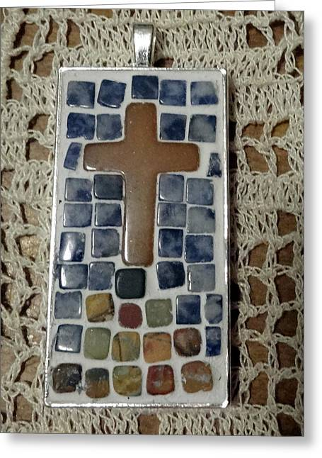 Cross Jewelry Greeting Cards - Mini Cross Mosaic Pendant 13 Greeting Card by Kathleen Luther