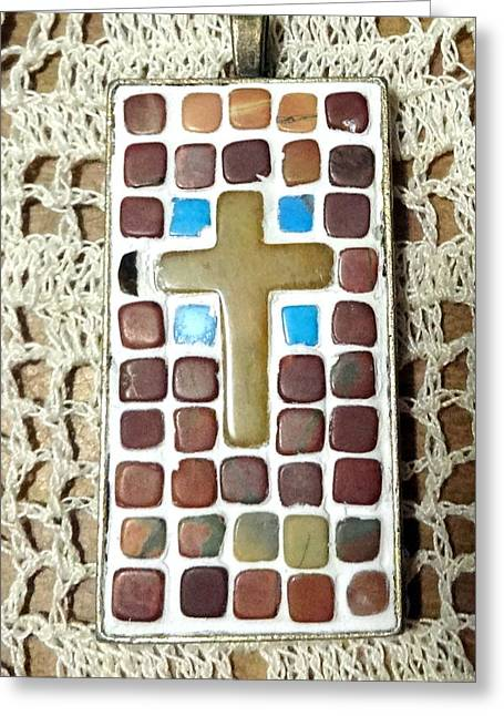 Mini Cross Jewelry Greeting Cards - Mini Cross Mosaic Pendant 14 Greeting Card by Kathleen Luther