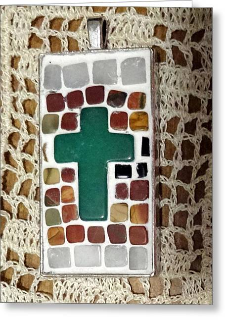 Mini Cross Jewelry Greeting Cards - Mini Cross Mosaic Pendant 6 Greeting Card by Kathleen Luther