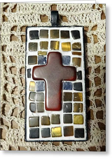 Mini Cross Jewelry Greeting Cards - Mini Cross Mosaic Pendant 7 Greeting Card by Kathleen Luther