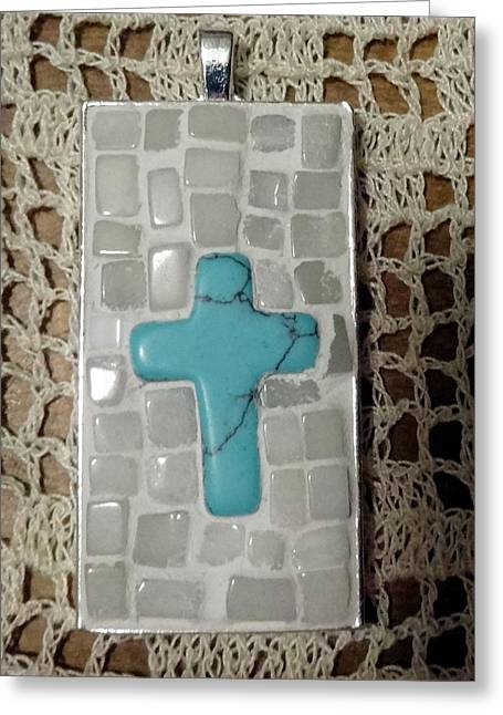 Mini Cross Jewelry Greeting Cards - Mini Cross Mosaic Pendant 8 Greeting Card by Kathleen Luther