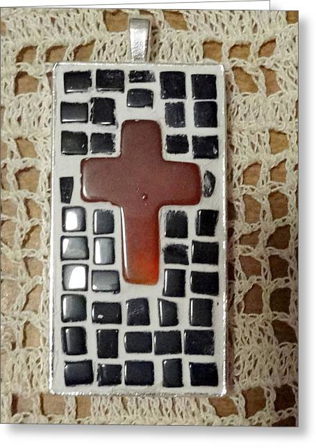 Mini Cross Jewelry Greeting Cards - Mini Cross Mosaic Pendant 9 Greeting Card by Kathleen Luther