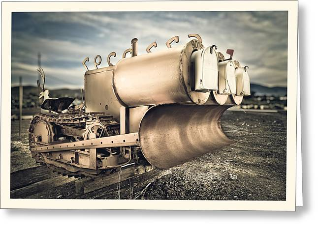 Mini Photographs Greeting Cards - Mini Excavator Mailbox Greeting Card by Yo Pedro