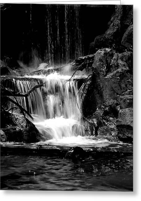 Beautiful Creek Greeting Cards - Mini Falls Black and White Greeting Card by Deena Stoddard