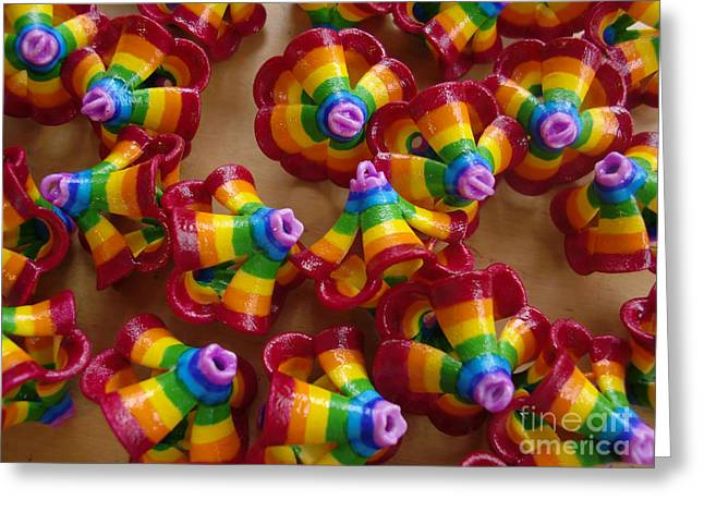 mini Flying Rainbow Lasagnes Greeting Card by Nofirstname Aurora